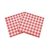 WallyE - Tovaglioli di carta a quadretti bianchi e rossi per feste di compleanno di Christams o fattoria, confezione da 20