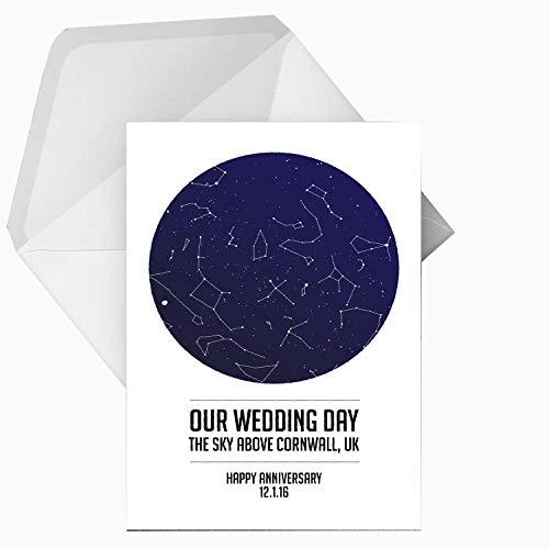 Gepersonaliseerd onze trouwdag ster/sterrenbeeld/nacht hemel wenskaart - elke woorden/locatie/datum