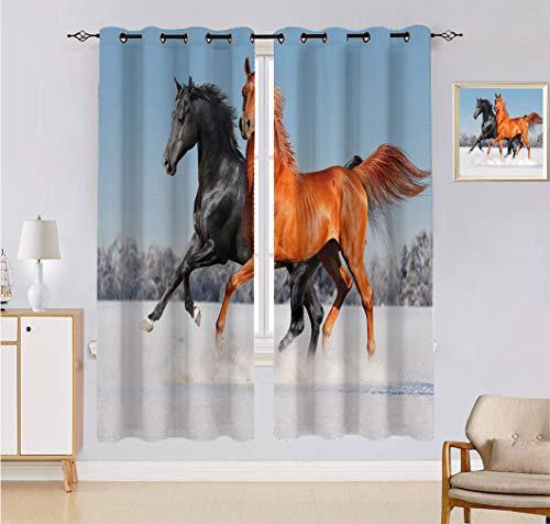 Cortina hecha a medida de caballos, Palomino caballo en la nieve con pelo rubio largo masculino Power Wild Animal Ventana cortinas 2 paneles, cada panel de 152 cm de ancho x 222 cm de largo