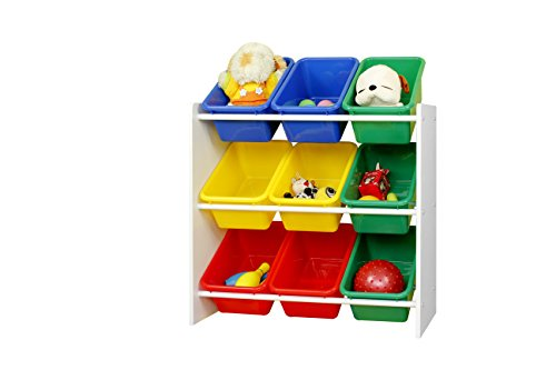 "Muscle Rack KBO261024-BC Kids Storage Organizer with 9 Bins in White, 23.6"" Height, 25.5"" Width"