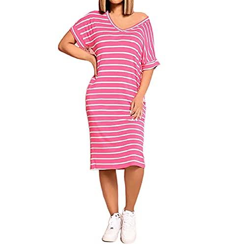 Zzbeans Vestido de verano para mujer, elegante e informal, suelto, a rayas, cuello en V, manga corta, vestido Midi, para verano, para el tiempo libre, Mujer, Rosa., xxx-large