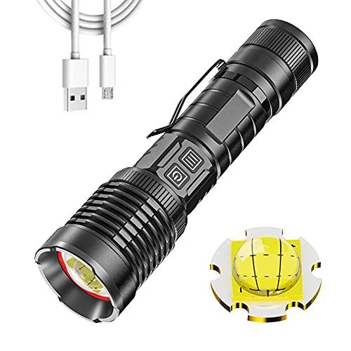 Linterna LED súper brillante 16000 lúmenes recargable, linterna táctica alta potencia XHP99 con zoom 5 Mdoes antorchas impermeables para acampar con banco energía y función de visualización de energía