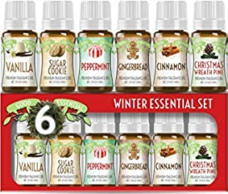 Winter Essential Oil Set of 6 Fragrance Oils - Christmas Wreath Pine, Vanilla, Peppermint, Cinnamon, Sugar Cookie, and Gin...