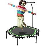 Bunao Trampoline, Mini Trampoline Pliable Jumping Fitness pour Enfants et Adultes, Poignée Réglable, Trampoline Intérieur/Extérieur (Vert-3)