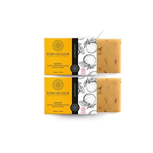 Écrin De Fleur | Jabón de Mandarina | Certificado Orgánico | Hecho a Mano en Francia con Aceites Esenciales de Caléndula y Tangerina | Saponificación en Frio | sin Aceite de Palma | 2 x 100g