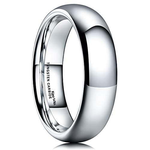King Will BASIC Men's 6mm High Polished Comfort Fit Domed Tungsten Carbide Ring Wedding Band 10.5