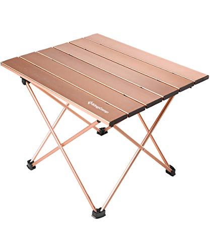 KingCamp Ultralight Compact Sturdy Aluminum Folding Table, for Camping, Beach, Picnic, Garden, Home, Easy to Carry and Install, Large and Small Size