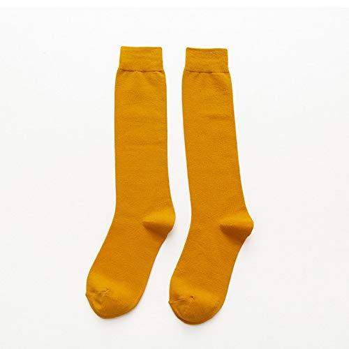 5 Pares/Paquete Calcetines De Color Sólido hasta La Rodilla De Algodón Puro para Mujer Calcetines De Tubo De Baile De Fiesta De Graduación para Estudiantes Amarillo
