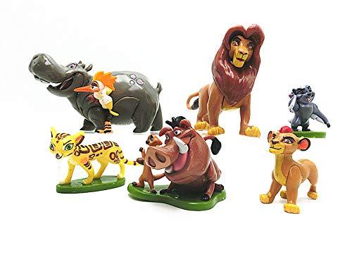 CYSJ León Cake Topper 6 Pcs El Rey León Decoración de Tartas Figuras Decoración para Tarta de cumpleaños de Animales de Dibujos Animados del Fiesta Suministros