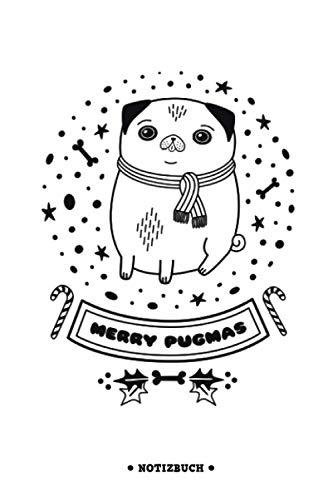 Merry Pugmas | Mops Notizbuch zu Weihnachten mit Punktraster | Dot Grid Journal A5 (6×9 inch) | Weihnachtsnotizbuch für die Mopsbesitzerin | ... Wichtelgeschenk & Weihnachtsgeschenk Mopsmama