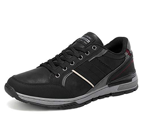AX BOXING Zapatillas Hombres Deporte Running Sneakers Zapatos para Correr Gimnasio Deportivas Padel Transpirables Casual 40-46 (44 EU, Gris Negro)