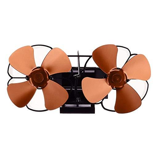 Kaminlüfter 8 Flügel Herdventilator Wandmontierter Doppelherdventilator Magnetischer Wärmekraftventilator Für Holz/Holzofen/Kamin (Size:One Size; Color:Bronze)