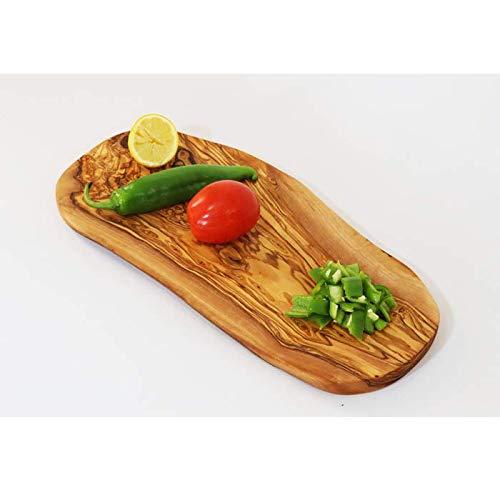 Tabla de madera de olivo, madera de olivo, tabla de cortar, tabla de desayuno, bistec, madera de olivo, tabla de cortar, rústica (23-27 cm)