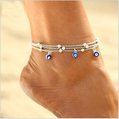 Yean Larered Silber Fußkettchen Auge Anhänger Knöchel Armband Perlen Fuß Schmuck Kette für Frauen und Mädchen