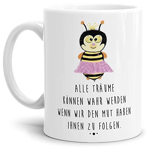 Tassendruck Bienen-Tasse mit Spruch Alle Träume können wahr Werden wenn wir den Mut haben Ihnen zu Folgen - Kaffeetasse/Mug/Cup/Süß/Weiss
