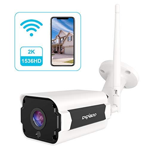 CACAGOO Telecamera di sicurezza per esterni, Telecamera CCTV Wi-Fi da 4 MP 1536P, con visione notturna, audio bidirezionale, rilevazione di movimento, telecamera esterna compatibile con IOS / Android