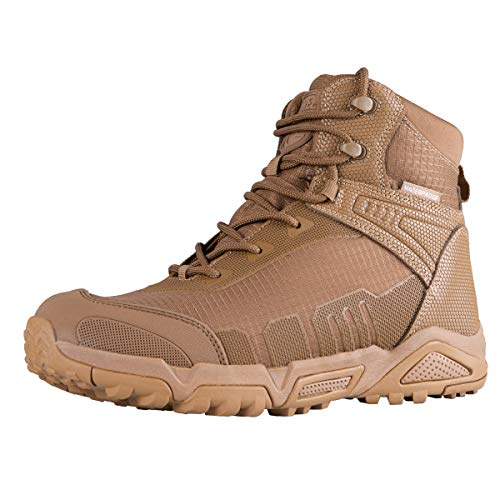 FREE SOLDIER Men's Waterproof Hiking Boots 6 Inches Lightweight Work Boots Military Tactical Boots Durable Combat Boots(Coyote Brown,12)