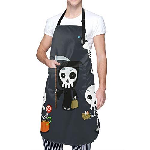 DAHALLAR Ajustable Personalizado Delantal Impermeable,Naranja Feliz Halloween Esqueleto Dibujos Animados Disfraz Calavera Atracciones Espeluznantes Otoo,Babero de Cocina Vestido con 2 Bolsillos