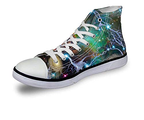 Ladies Womens Fashion Galaxy Comfort Hi Top Canvas Trainers Pumps Shoes Sneakers pattern5 D0355AK EU 38