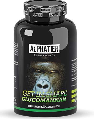 Endlich abnehmen mit Glucomannan Sättigungskapseln - ALPHATIER Get in Shape - Appetitzügler Kapseln hochdosiert - Fettabbau - Magenfüller - ohne Magnesiumstearat - Appetithemmer