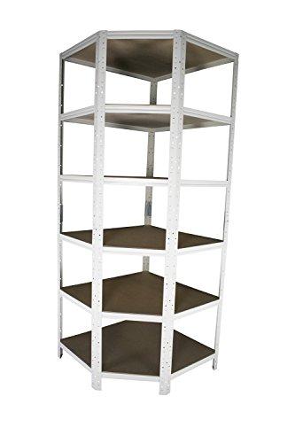 Eckregal Stecksystem in weiß 200 x 70 x 45 cm mit 6 Böden für Schwerlastregale mit 45 cm Tiefe: Ideale Ergänzung durch Ausnutzung der Ecken für Metallregal, Kellerregal, Lagerregal, Garagenregal