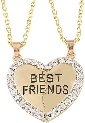 HOUSWEETY 2pcs Best Friend Pendant Necklace BFF Necklace