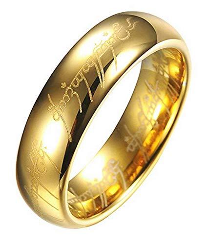 Legisdream Anello Potere con Incisione Interna ed Esterna Oro Misura IT 19 Gioiello Il Signore degli Anelli Idea Regalo per Ogni Occasione