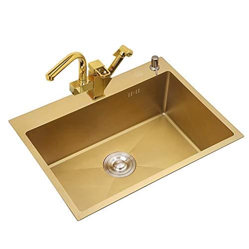 YWTT Accesorios de baño Fregadero pequeño para el hogar Cocina Pequeña Piscina de Limpieza Piscina para Lavar Verduras y Frutas Piscina para Lavar Platos Baño Lavabo Cuadrado Lavabo Dorado de Ace
