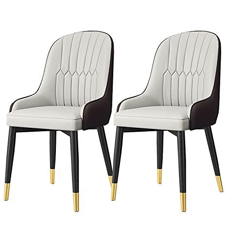 ADGEAAB Juego de 2 sillas de comedor de cocina modernas tapizadas con cojín de piel sintética suave y patas de metal, sillas laterales de salón (color blanco y marrón)