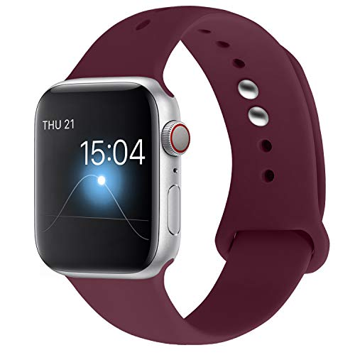 YOUKEX Sport Band Compatible with Apple Watch Band 38mm 40mm 42mm 44mm, Soft Silicone Strap Wristbands Replacement for Series 4/3/2/1 Women Men, S/M M/L (Wine red, 42mm/44mm s/m)