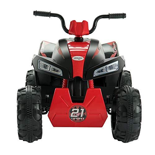 Uenjoy ATV for Kids 4 Wheeler Quad 12V Electric Ride On Car w/2 Speed,Suspension,LED Lights,Built-in Horn,Treaded Tires,Engine Sounds for Child (Red Black)…