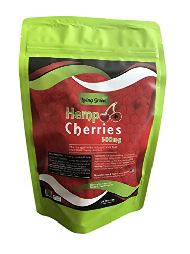Hemp Cherries Gummies 300mg- 20mg per Serving- 30 ct- Organic Hemp Extract - Relaxing, Pain Relief, Stress & Anxiety Relief - Sleep Better by Living Green (Cherries)