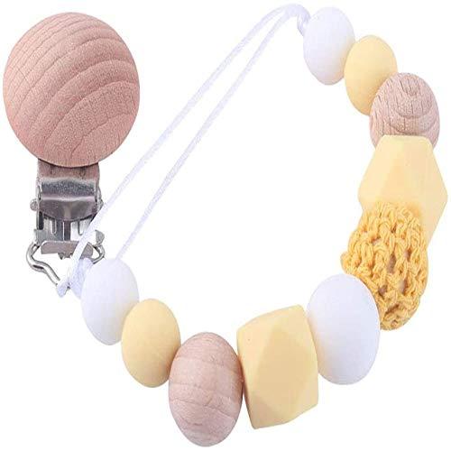Cadenas Chupetes Bebé, Clips de Cadenas para Chupetes Pinzas Chupete, Clip Chupetero Madera Chupetero Personalizado para Bebe (E)