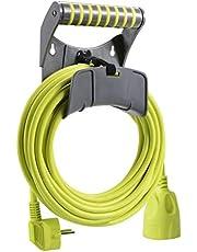 Masterplug Verlengkabel 10 m kabel, stroomkabel met geaard contact en wandhouder, stroomverdeler voor binnen en buiten