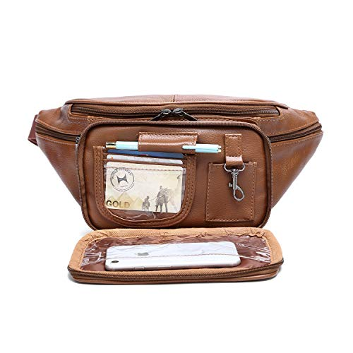 Genuine Cowhide Leather Large 7 Pocket Waist Pack with Organizer, Card Slots (Cowhide Brown)