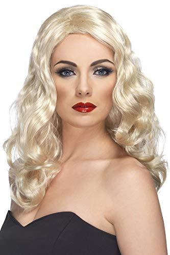 Smiffys Perruque chic glam blonde, cheveux longs et ondulés Taille Unique
