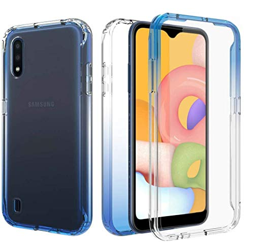 iRunzo 2 in 1 Cover for Samsung Galaxy A01 Case (US Edition) Soft TPU + PC Bumper Transparent Color-Changing 360° Full Body Protect (Blue)