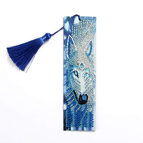 VETPW 5D DIY Wolf Diamant Malerei Lesezeichen, Special Shaped Diamond Painting Bookmark, Malen Nach Zahlen Kit, Diamant Stickerei Malerei Quaste Leder Lesezeichen Set