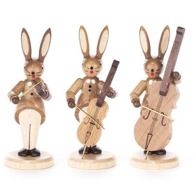 Hasentrio strijker met viool, cello en contrabass, natuur hoogte = 8 cm NIEUW Ertsgebergte Paashaas Paasdecoratie