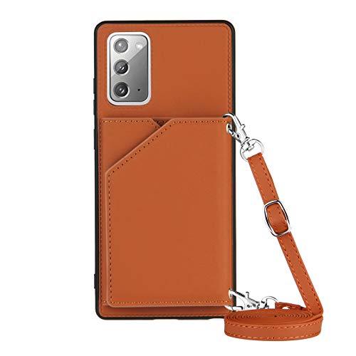 Funda para Samsung Galaxy Note 20 con Cuerda, Carcasa Cuero Premium PU Suave Case con Correa Colgante Ajustable Collar Correa de Cuello Cadena Cordón Ranuras para Tarjetas Anti-Choque Cover, Marrón
