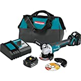 "Makita XAG11T 18V LXT Lithium-Ion Brushless Cordless 4-1/2""/ 5' Paddle Switch Cut-Off/Angle Grinder Kit, with Electric Brake (5.0Ah)"