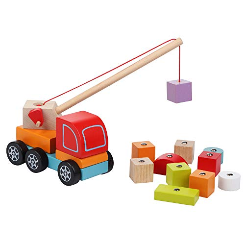 Wise Elk Wooden Toy Car Crane for Toddlers, Greaf Gift for Kids from 18 Month, Learning Truck with Crane for Kids with Bright Blocks, Color and Shape Sorter.