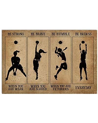 Gearsly Strong When You are Weak Women Volleyball Poster No Frame Or Framed Canvas 0.75 Inch Print in Us Novelty Quote Meaningful, Motivational