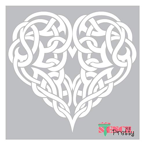 Viking Heart Stencil - Celtic Love Symbol Decor Template Best Vinyl Large Stencils for Painting on Wood, Canvas, Wall, etc.-XS (11' x 10.5')  Ultra Flexible Food Grade Clear Color Material