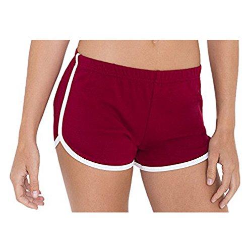 American Apparel Damen Interlock Running Short Elastischer Bund Kontrastweiß Paspelierung Gr. XS, Cranberry / Weiß