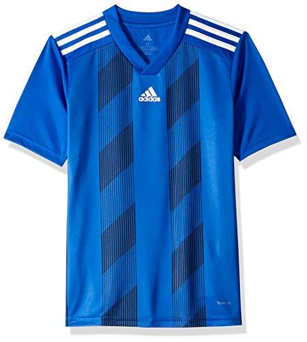 adidas Juniors' Striped 19 Soccer Jersey, Bold Blue/White, Medium
