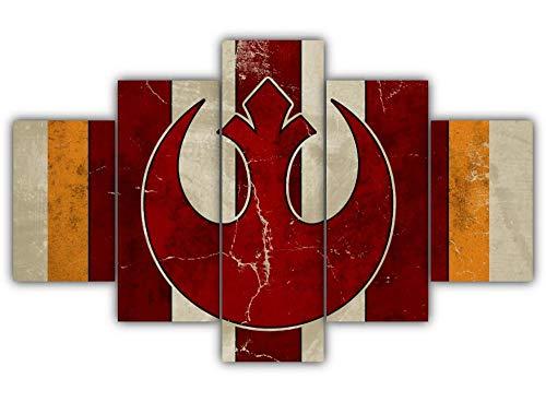 GSDFSD Cuadro en Lienzo 200x100 cm Impresión de 5 Piezas Yelmo de Star Wars Movie Rebel Alliance Material Tejido no Tejido Impresión Artística Imagen Gráfica Decoracion de Pared