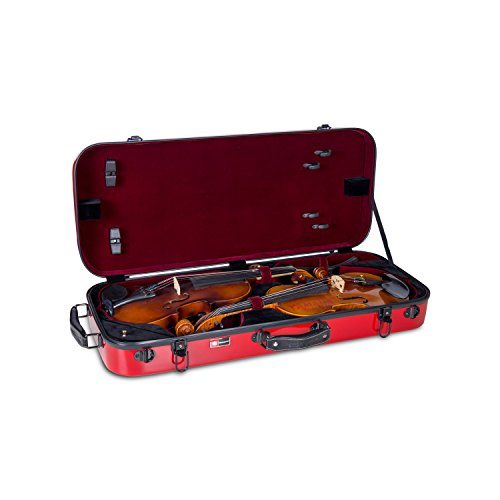 red violin with cases Crossrock Fiberglass Double Violin Case For 2 4/4 Full Size Violins Backpack Style in Red (CRF1000DVRD)