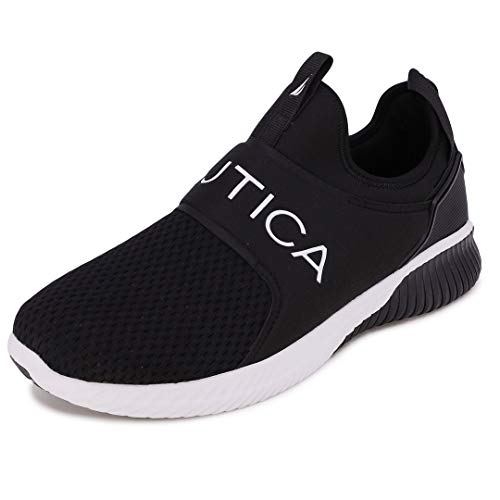 Nautica Men's Casual Fashion Sneakers-Walking Shoes-Lightweight Joggers-Coaster-Black-9.5