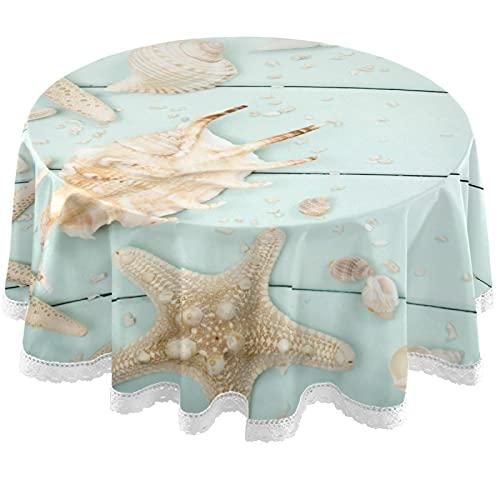 Oarencol Mantel redondo de verano con diseño de concha de mar de madera de 152 cm, lavable y mantel de poliéster para buffet, fiesta, cena, picnic
